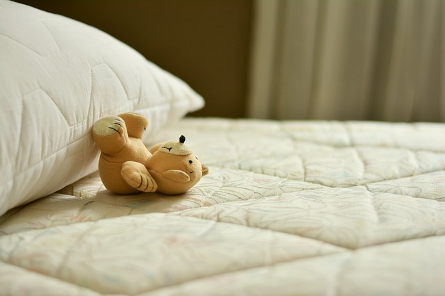 miś na łóżku